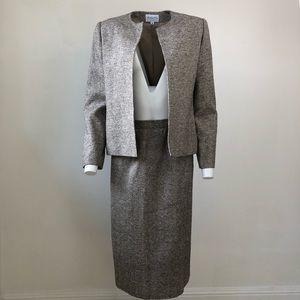 Vintage silk houndstooth suit skirt set